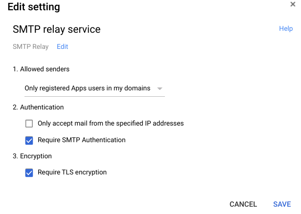 SMTP Relay service options in G Suite
