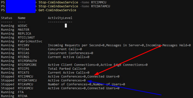 Stopping the stalled services with Stop-CSWindowsService in separate window